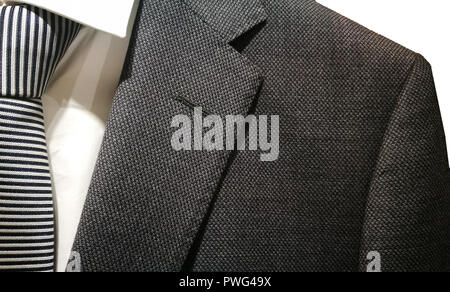 Mens fashion suits close up with shirt and tie. - Stock Photo