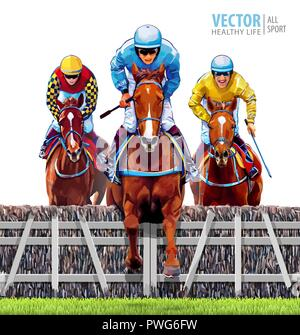 Equestrian sport. Triathlon. Jockey riding jumping horse. Horse racing. Hippodrome. Racetrack. Trio racing horses competing with each other. Isolated on white background. Vector illustration. - Stock Photo
