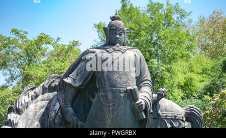 Wuhan Hubei, CHINA - September 08-2018: Wuhan Statue of the Yue Fei in Wuhan, China. He is national hero at ancient china kingdom. - Stock Photo