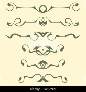 Decorative graphic elements of the vignette for the design of pages, letters, congratulations, invitations, diplomas and other documents. - Stock Photo