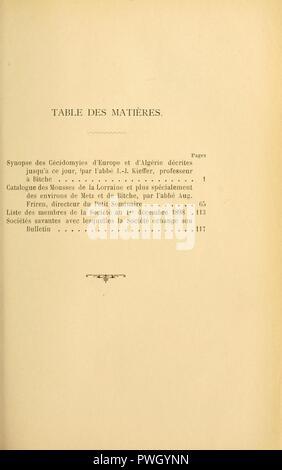 Bulletin de la Société d'histoire naturelle de Metz - Stock Photo
