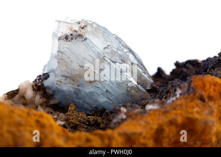 Barite on Calcite, Stoneham, weld County, Colorado - Stock Photo
