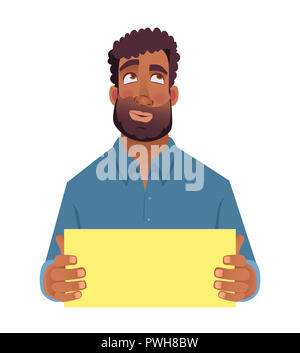 African man holding blank card. Afro american man with sign. Illustration - Stock Photo