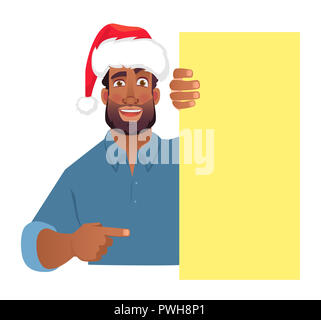 African man in christmas hat holding blank banner. African american man with board. Finger pointing illustration - Stock Photo