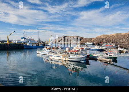 16 April 2018: Stykkisholmur, Snaefellsnes Peninsula, West Iceland - Boats in the harbour. - Stock Photo