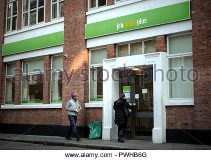 File photo 20/02/13 of a job centre plus. The number of people in work has remained at a near-record high despite a slight fall in employment, new figures show. - Stock Photo
