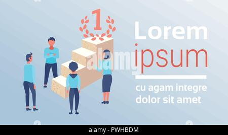 business people near podium ladder first place concept winner businessman woman successful working strategy champion flat horizontal copy space vector - Stock Photo
