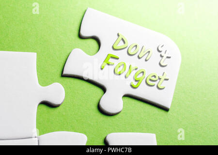 The Words Don't Forget In Missing Piece Jigsaw Puzzle - Stock Photo