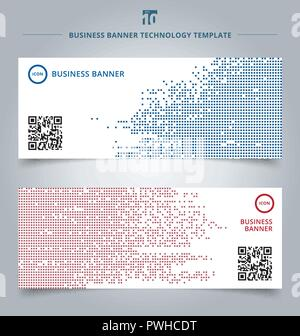 Set of template abstract technology digital data square blue and red pattern pixel background. Vector corporate design - Stock Photo
