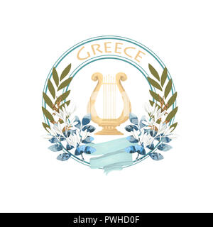 Vintage ancient Greece label with olive harp and ribbon color bouquet badge isolated illustration on white backgound - Stock Photo