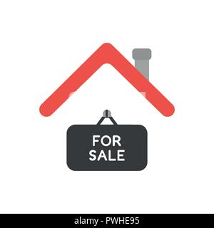 Vector illustration icon concept of for sale hanging sign under house roof. - Stock Photo