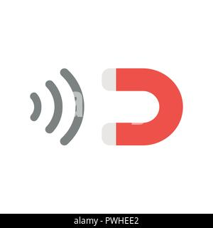 Vector illustration icon concept of magnet attracting. - Stock Photo