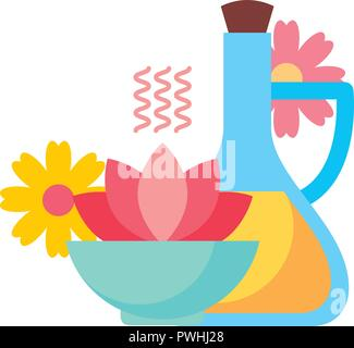 aromatherapy flower diffuser massage oil spa healthy vector illustration - Stock Photo