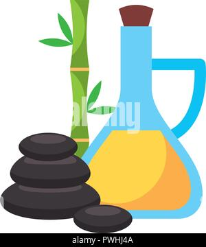 massage oil bottle stone bamboo  spa healthy - Stock Photo