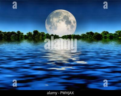 Surreal painting. Big moon over water. Forest at the horizon - Stock Photo