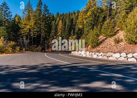 Mountain Road in Mount Spokane State Park, Spokane, Washington, USA - Stock Photo