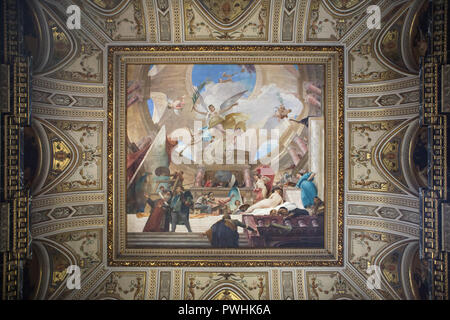 Ceiling painting 'Glorification of the Renaissance' by Hungarian painter Mihály Munkácsy (1888) on the grand staircase of the Kunsthistorisches Museum (Museum of Art History) in Vienna, Austria. - Stock Photo