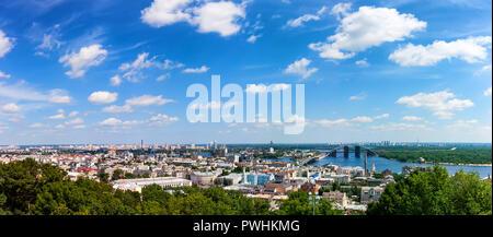 Beautiful panoramic view of Kyiv from St. Andrew's Church - Stock Photo