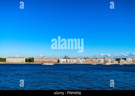 Beautiful view of Saint Petersburg buildings from river - Stock Photo