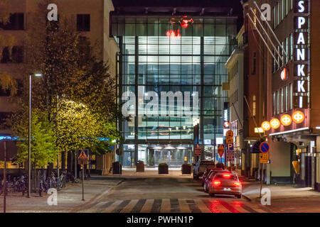 Valkea shopping mall at night in Oulu Finland - Stock Photo