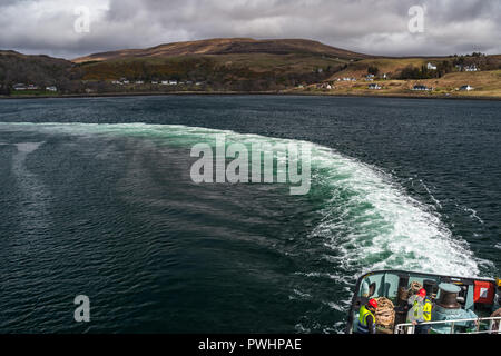 View from a ferry onto the bay of Uig, Isle of Skye, Scotland, Uk - Stock Photo