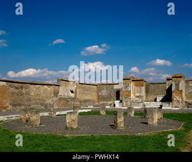 Italy. Pompeii. Roman city destroyed in 79 AD because of the eruption of the Vesuvius volcano. Macellum. Market located at the Forum. Central structure, detail. La Campania. - Stock Photo