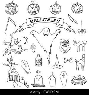 Set of hand drawn doodle cartoon elements of Halloween celebration. Halloween creatures. Black and white drawing. Isolated doodles on white background - Stock Photo