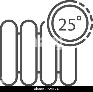 Smart control temperature radiator icon, outline style - Stock Photo