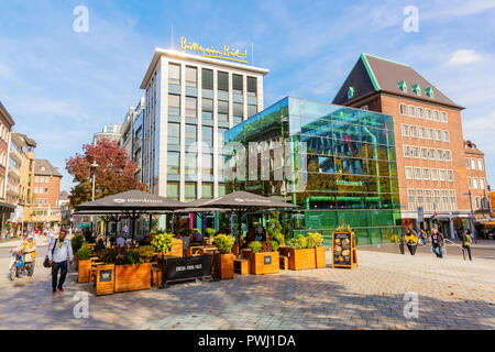 Aachen, Germany - October 12, 2018: shopping area with unidentified people. Aachen is a spa town in North Rhine-Westphalia and was residence of Charle - Stock Photo