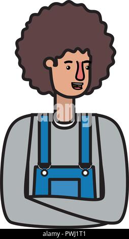 man in overalls and afro hair avatar character - Stock Photo