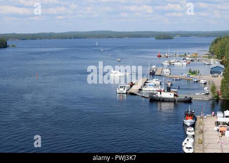 PUUMALA, FINLAND - 27 July, 2018: View of port and lake Saimaa. - Stock Photo