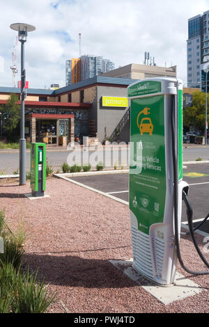 View of an electric car charging station located near Bowen Street in Adelaide, South Australia, Australia. - Stock Photo