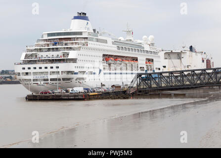 Columbus cruise ship, River Thames, London deep water cruise port, Tilbury, Thurrock, Essex, England, UK - Stock Photo