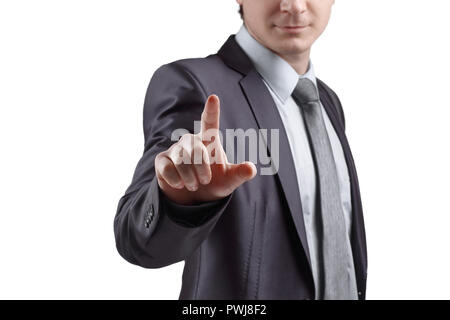 close up. businessman presses his finger on the virtual point. isolated on grey background - Stock Photo