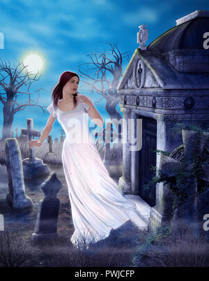 An enchanting female ghost griefing a lost love in a spooky ancient cemetary, 3d render painting