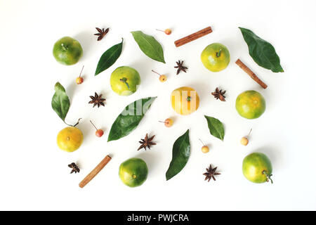 Christmas styled stock composition. Tangerine citrus fruit and leaves, cinnamon sticks, anise stars and little apples on white table background. Chris - Stock Photo