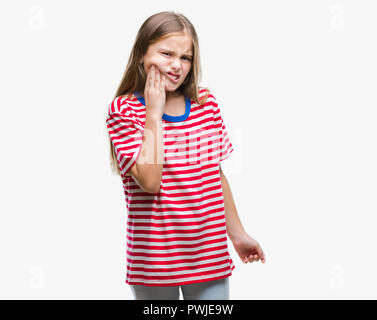 Young beautiful girl over isolated background touching mouth with hand with painful expression because of toothache or dental illness on teeth. Dentis - Stock Photo