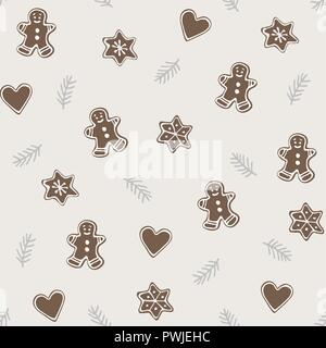 Cute Christmas seamless pattern with various gingerbread cookies and fir tree branches . Winter food concept. Hand drawn flat vintage design. Vector illustration background. - Stock Photo