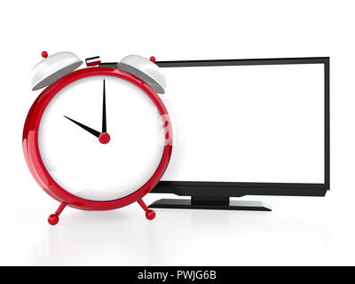 Alarm clock and modern LCD tv on white background - Stock Photo