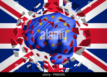 3D illustration: a fist-shaped European flag hits and destroys the union jack flag. It is an allegorical image of the crisis between EU and the UK fol - Stock Photo
