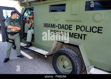 Florida, FL, South, Miami, Little Havana, Calle Ocho, Eighth 8th Street, Miami Dade, Special Response Team, SWAT, police, vehicle, Black Blacks Africa - Stock Photo