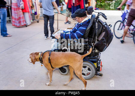 Miami Beach Florida Lincoln Road Mall pedestrian Antiques and Collectibles Market man electric wheelchair equipment disabled dis - Stock Photo