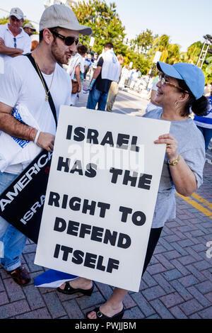 Miami Beach Florida Holocaust Memorial Israel Solidarity Rally Jews Jewish state Zionism religion tradition heritage Hispanic ma - Stock Photo