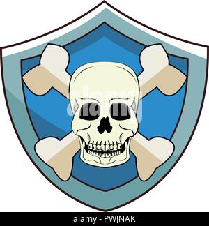 Danger skull shield emblem vector illustration graphic design - Stock Photo
