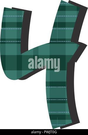 number four font checkered vector illustration white background - Stock Photo