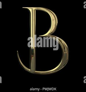 Initial letter R with metallic gold texture isolated on