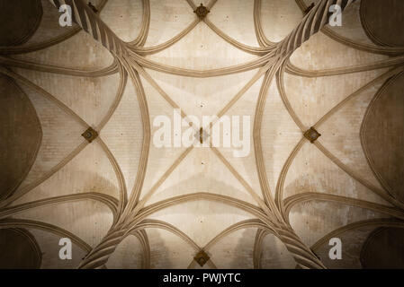 La Llotja gothic vaulted ceiling interior in Palma de Mallorca, Balearic islands, Spain - Stock Photo