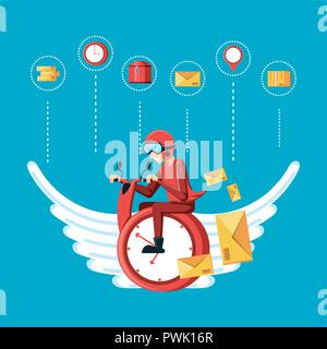 courier worker with clock flying logistic service vector illustration design - Stock Photo