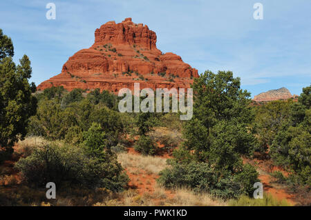 Bell Rock is one of the most popular of the red rock formations in the Sedona, Arizona area, and is considered one of its vortex sites. - Stock Photo