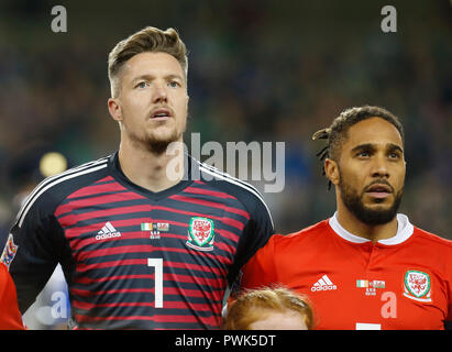 Aviva Stadium, Dublin, Ireland. 16th Oct, 2018. UEFA Nations League football, Ireland versus Wales; Wayne Hennessey and Ashley Williams (c) of Wales during the playing of the national anthems Credit: Action Plus Sports/Alamy Live News - Stock Photo
